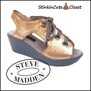 Steve Madden Metallic Leather Wedge Sandals